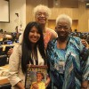 NEW YORK, USA – Amanda Vieira, from the LBV, presents the Organization's recommendations to Ellen F. Haywood and Norma Foster, both from the National Council of Negro Women in the United States.