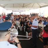 Anápolis, GO —A Banda de Música da Base Aérea de Anápolis abrilhantou a cerimônia de abertura, entoando o Hino Nacional Brasileiro.