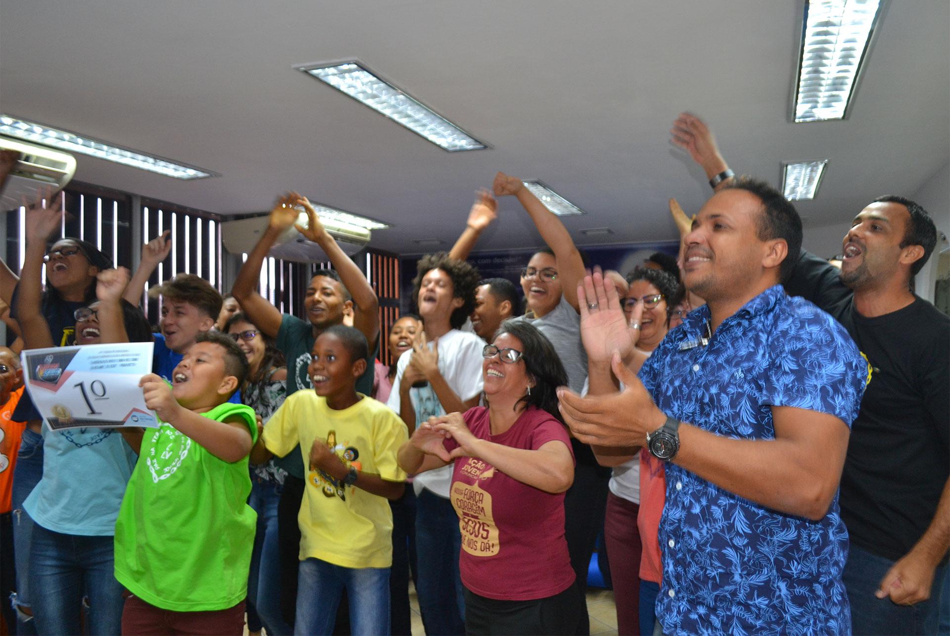 Salvador, BA - Reação dos jovens ao serem anunciados como os vencedores das Olimpíadas do Espírito 2019.