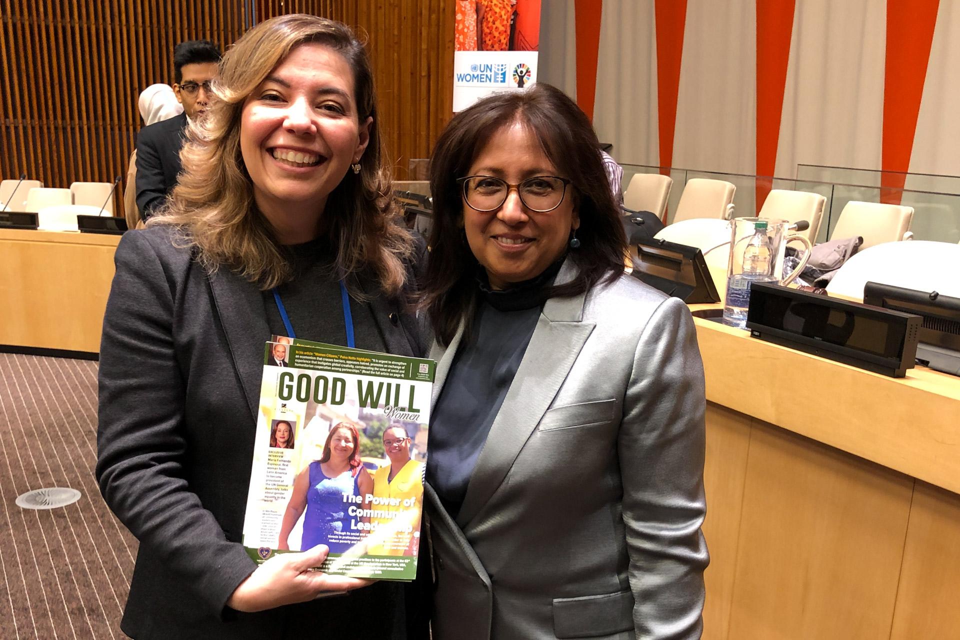 A sra. Purna Sen, coordenadora-executiva da ONU Mulheres e porta-voz da ONU Mulheres para Assuntos sobre Assédio Sexual e Outras Formas de Discriminação, também recebeu as recomendações da LBV.