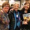 Nova York, EUA — Na foto, a sra Grace Hollett, presidente da Federação Canadense daUniversidade para Mulheres e membro da delegação do Canadá (ao centro) e asra. Louise McLeod, presidente honorária da Women Graduates-USA e membro da delegação dos Estados Unidos no evento(E),comAdriana Parmegiani, da LBV.