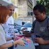 """Rio de Janeiro, RJ — Por todo o Brasil, os jovens saíram às ruas promovendo atividades em torno do tema""""A urgência de viver o'Amai-vos como Eu vos amei', de Jesus""""."""