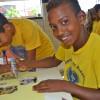 ARACAJU, SE — As crianças registram com alegria sua participação na abertura do 16ª Fórum Internacional dos Soldadinhos de Deus, da LBV.