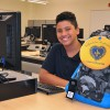 12-year-old Francisco from the Oliver St. School excited to have received a brand new backpack from the LGW.