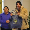 Mother and son of Oliver St. School in Newark, NJ receive food basket from the LGW for their holiday meal