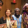 Representantes da LBV no evento confraternizam com as senhoras Tounkara Sophie Souko e Diahara Thomas, do Ministério da Mulher, Criança e Família do Mali.