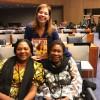 Na foto, representantes da República do Congo, asenhora Kunda Lupandula, ministra de Gênero, Família e Infância, e a senhora Ilunga Tshingwel, ministra da Educação, Pesquisa Científica e Introdução à Nova Cidadania, da República do Congo.
