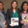Na foto, a ex-membro do Parlamento Nepalense e Secretária-Geral da ONG Center For Dalit Women Nepal,sra.Kamala Biswokarma (E) eLily Thapa, ativista dos direitos das mulheres, assistente social, palestrante, escritora e fundadora da Women for Human Rights (D),recebem, de Adriana Parmegiani (ao centro), a publicação da LBV.