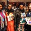 Integrantes da delegação da República dos Camarões, da esquerda para a direita: Yvette Tsingang, vice-diretora de Engenharia Civil do Ministério da Agricultura; Amadou Hadidjatou, inspetora da Documentação do Ministério da Pecuária, Pescas e Indústrias Animais; e Taka Tamumgang, representante do Ministério de Agricultura e Desenvolvimento Rural.
