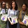 Thytiane Masengo (E), chefe da Tesouraria do Centro de Especialização, Avaliação e Certificação de Substâncias Minerais Preciosas e Semipreciosas, e Sylvie Mdazambi (D), integrantes da delegação da República Democrática do Congo.