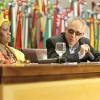 Mãe Adna Santos e o dr. André Stroppa na mesa de debates da primeira parte doPainel temático