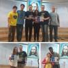 Registro dos ganhadores do Festival: 1º lugar - Banda Militantes da Paz (na parte superior da foto), de Uberlândia, MG, com a composição