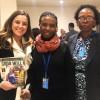 Keaneilwe Evelyn Ralekgobo (ao centro) e Innocentia Puso, representantes da delegação do Botsuana.