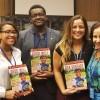 Nova York, EUA — Da esquerda para a direita: Jazmyn Reynoso, Andray Smithe Sâmara Malaman, da equipe da LBV, eAlexandrina Sobreira de Moura, pesquisadora titular e diretorade Pesquisas Sociais da FundaçãoJoaquim Nabuco, do Ministério da Educação do Brasil.