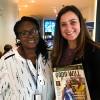 Na foto, Sâmara Malaman, da LBV, confraterniza com Angela Chioke, da ONG Wacol Women Aide Collective, da Nigéria.