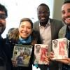 """Eleutério Guevane, da ONU News (o terceiro, da esquerda à direita) e André Zavarize, CEO da ZAZ Produções, produtor do Documentário e do livro """"Sergio Vieira de Mello ― O Legado de um Herói Brasileiro."""""""