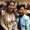 A dra. Soon-Young Yoon, presidente interina da diretoria da Organização das Mulheres para o Desenvolvimento e o Meio Ambiente, com Maria Restrepo, representante da LBV no evento.
