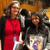 Antonia Kirkland, da organização Equality Now, de Nova York, com Mikayla Seresinhe, representante da LBV no evento.