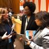 Representantes da LBV entregaram à Purna Sen, coordenadora executiva da ONU Mulheres. Porta-voz da ONU Mulheres para Assuntos sobre Assédio Sexual e Outras Formas de Discriminação, um exemplar da revista BOA VONTADE Mulher, com as recomendações e boas práticas da Entidade para o empoderamento feminino.