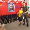 São José do Rio Preto/SP - O primeiro sargento Geison Moraes da Costa Vaz, do Tiro de Guerra,prestigiou a entrega dos kitspedagógicos e deixou suas considerações: