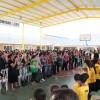 A quadra poliesportiva que a LBV entregou à comunidade do Bairro Progresso ficou lotada ao receber atendidos, colaboradores, autoridades e amigos da Instituição. Com o espaço, a LBV poderá intensificar o seu trabalho de incentivo ao esporte, visando o bem-estar de crianças, adolescentes e idosos.