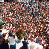 LBV's president gives a speech from the balcony of the first building of the Organization's Ecumenical Complex connected to the Temple of Good Will. This first building was inaugurated on May 27, 1986, by Paiva Netto, before a mass of people that overcrowded the place.
