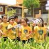 Crianças visitam o bosque do Conjunto Educacional Boa Vontade.