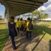 As crianças da LBV acompanharam a tardedos jogadores no Centro de Treinamento do Corinthians